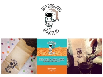 Retrograde Roasters Astronaut Logo and Business Card